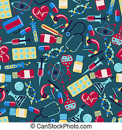 Medical and health care seamless pattern.