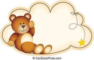 Teddy bear lying on the cloud - Scalable vectorial image...