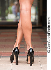 Black High Heels on Paver Block - Black high heels shoes and...