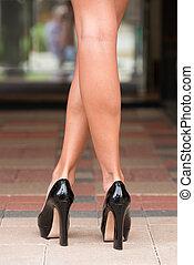 Black High Heels on Paver Block - Black high heels shoes and...