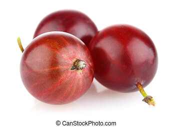 ripe red gooseberry isolated on white background