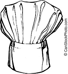 hat of chef - hand drawn, vector, sketch illustration of hat...