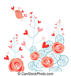 Plants with hearts and love bird - Beautiful plant with...