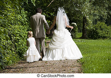 walking together - bride and groom