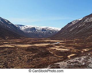 Glen Geusachan, Cairngorms mountain, Scotland in spring -...