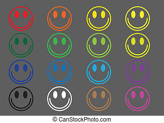 Colored icons emoticons - A set of sixteen colored smileys