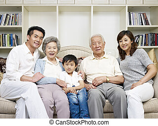 asian family - portrait of a three-generation asian family.