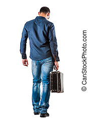 back of young man on white background - back of young man in...