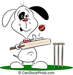 Cartoon Dog Playing Cricket - A cartoon dog playing cricket...