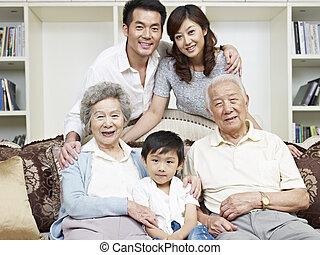 asian family - portrait of a three-generation asian family