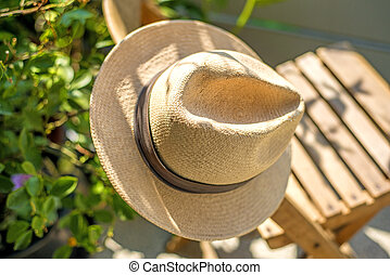 Panama hat on chair