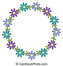 Framework - Floral framework with blue and violet flowers