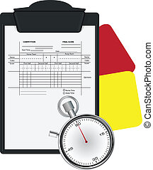 Clipboard with Soccer Referee Data Set and Stopwatch Vector...