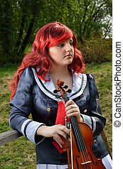 Teenage girl with a fiddle