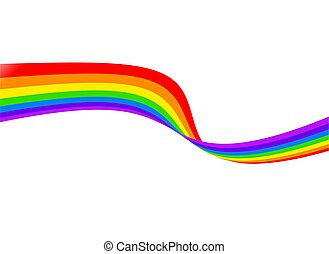 rainbow - Abstrac colourful rainbow ribbon isolated on white...
