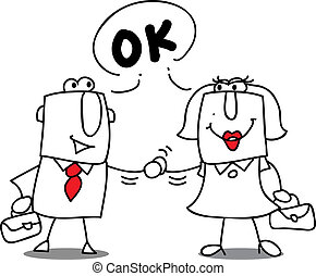 Are you ok ? - A businesswoman and a businessman shaking...