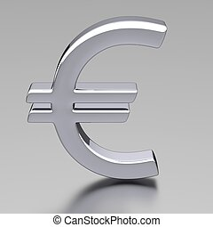 3D Chrome Euro Sign