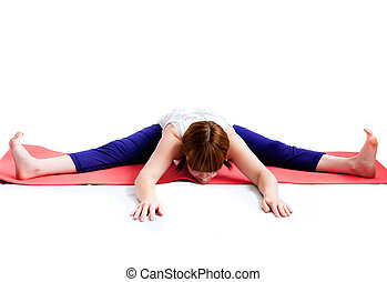 middle aged woman exercise yoga