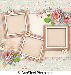 Wedding Day Card  for congratulation with roses