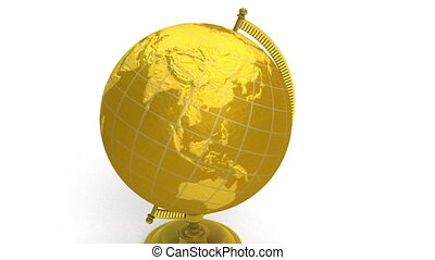 Gold globe spins, pin Los Angeles - 3D animation of gold...