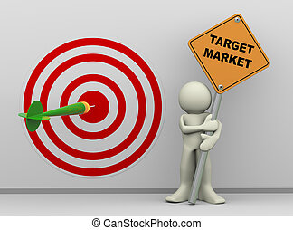 3d man with target market sign board - 3d illustration of...