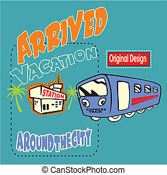 vector bus station - can design t-shirts for kids