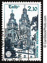 Postage stamp France 1985 Tours Cathedral, Tours