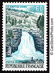 Postage stamp France 1973 Doubs Waterfall, Franche-Comte -...