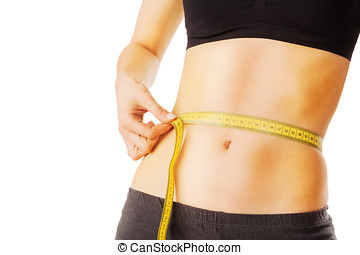 Fit and healthy waist measured with a tape isolated on white