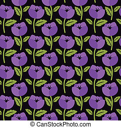 Floral pattern - Seamless floral pattern with purple flowers