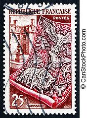 Postage stamp France 1954 Tapestry and Gobelin Workshop -...