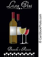 Wine List italian - illustration of wine list with bottles...