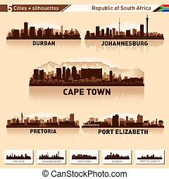 stad, horisont, sätta, syd, Afrika