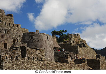 Buildings and ruins at Machu Picchu - Important ruins at...