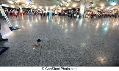 airport 3 - cleaning worker cleans airport