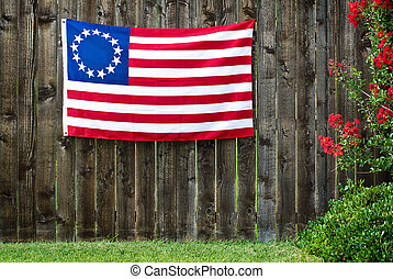 13 Star American flag, the Betsy Ross flag, displayed on...