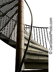 Spiral Staircase - A spiral staircase made in metal isolated...