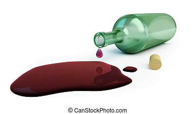 bottle of wine spilled on a white background