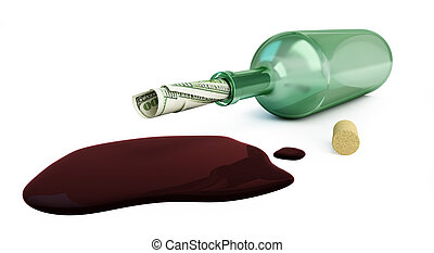 bottle of wine dollars on a white background