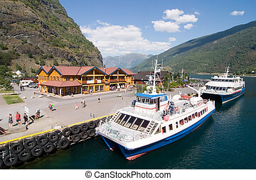Mountain Town in the Fjords - Docks in the small tourist...