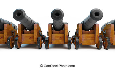Old cannons on a white background