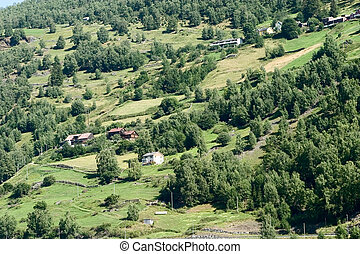 Mountain Farm - A mountain farm on the side of...