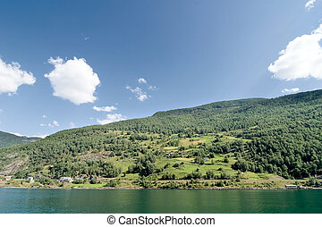 Aurlandsfjord - Fjord landscape in the western area of...