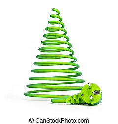 Christmas tree with electric cables on a white background
