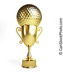 golf gold cup on a white background