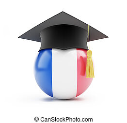 education in france on a white background