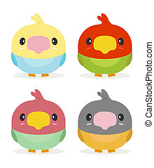 kawaii birds - cute set of kawaii birds