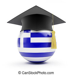 education in greece on a white background