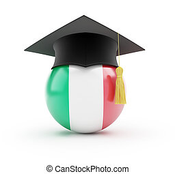 education in italy on a white background