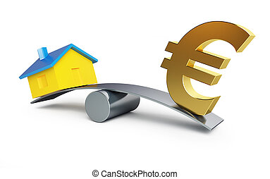Scales money euro or a house - Scales money or a house on a...